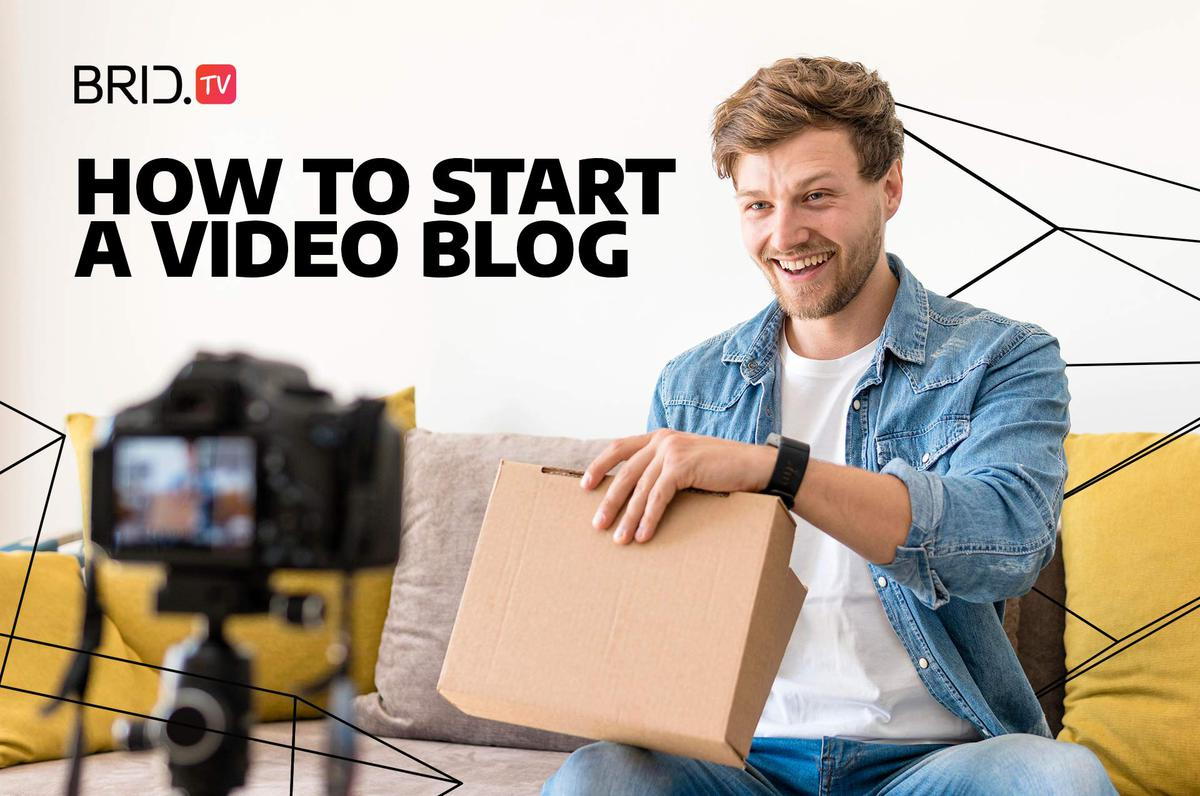 """man sitting in front of a camera with a cardboardbox and """"how to start a video blog"""" text on image"""