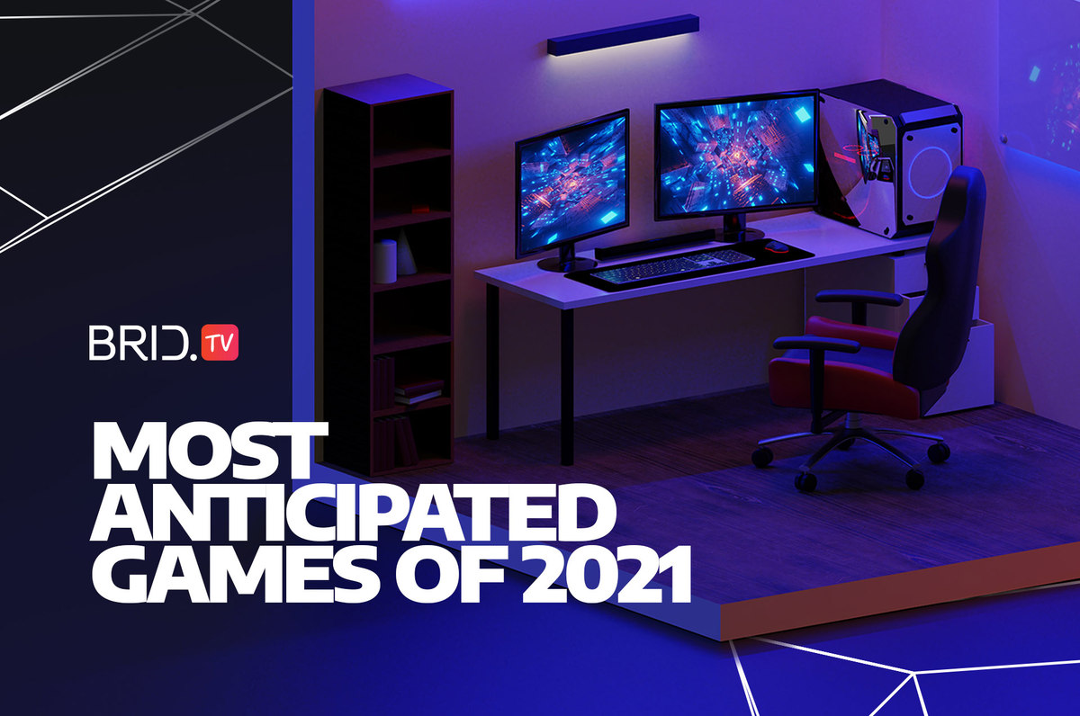 an image of a PC setup and most anticipated video games of 2021 written on the left